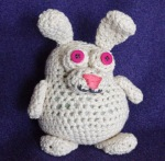 Small bunny. I've since learned that these little animals (called Amigurumi crochet) are supposed to be crocheted super tight, unlike mine. :)
