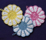 Flower potholders were a gift for the girls' great grandma!